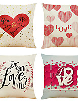 cheap -Cushion Cover 4PCS Valentine' Party Decoration Valentine' Gift Linen Soft Decorative Square Throw Pillow Cover Cushion Case Pillowcase for Sofa Bedroom 45 x 45 cm (18 x 18 Inch) Superior Quality