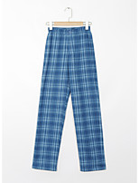 cheap -Women's Basic Streetwear Comfort Daily Going out Wide Leg Pants Pants Plaid Checkered Full Length Print Blue Red