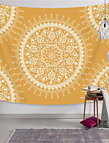 cheap -Wall Tapestry Art Decor Blanket Curtain Picnic Tablecloth Hanging Home Bedroom Living Room Dorm Decoration Polyester Orange Background White Mandala View