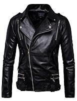 cheap -men's stylish faux leather zipper motorcycle jacket black l -asian