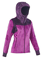 cheap -women's mountain hiking soft polar fleece purple jacket with hood, full zip for perfect confort from 45 to 50°f (xlarge)