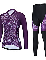 cheap -Women's Long Sleeve Cycling Jersey with Bib Tights Cycling Jersey with Tights Cycling Jersey Winter Black Purple Black / White Floral Botanical Bike Breathable Quick Dry Sports Graphic Mountain Bike