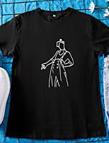 cheap -Women's T-shirt Portrait Round Neck Tops 100% Cotton Basic Basic Top White Black Red