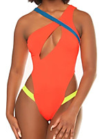 cheap -Women's Fashion Sexy Board Shorts Swimsuit Color Block Leopard Padded Normal Swimwear Bathing Suits Red Orange / One Piece / Padded Bras