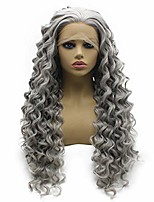 cheap -iwonawig long curly silver gray natural lace front wig heat resistant fiber hair