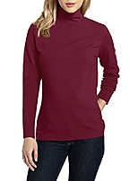 cheap -women's basic long sleeve turtleneck t-shirt solid slim soft cotton tops(clart/turtleneck,xl)