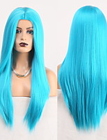 cheap -Cosplay Costume Wig Synthetic Wig Straight Natural Straight Middle Part Wig Long Lake Blue Synthetic Hair Women's Odor Free Fashionable Design Soft Blue / Heat Resistant