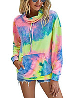 cheap -women's pullover casual drawstring striped contrast tie dye hoodie with pocket