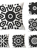 cheap -Cushion Cover 6PCS Linen Soft Decoration Square Throw Pillowcase Cushion Cover Sofa Box Pillowcase 45 x 45 Cm 18 x 18 Inches High-Quality Washable Black And White Pattern Short Plush