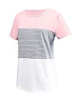 cheap -short sleeve light green cotton shirts color block stripe tee for women and teen girls, small