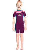 cheap -Girls' Shorty Wetsuit 2.5mm SCR Neoprene Diving Suit Windproof Quick Dry Short Sleeve Back Zip Patchwork Autumn / Fall Spring Summer / Kids
