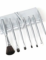 cheap -Beauty 7Pcs Set Cosmetic Brushes Makeup Brushes Tool Kit Super Soft Hair PU Leather Bag Make Up Brushes Set YYFUS (Color : Silver, Size : Free)