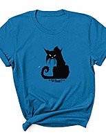 cheap -women tshirts graphic funny cat what ? letter printed short sleeve crew neck t-shirts summer fashion casual loose blouse tops