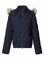 cheap -women's waterproof lightweight puffer jacket hooded short down coat outwear with fur trim navy