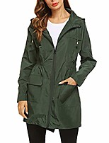 cheap -women's rain jacket waterproof hooded raincoat lightweight outdoor windbreaker long ski snow coats with pockets