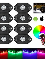 cheap -rgb led rock lights 8 pods kit with turn signal light red brake tail light bluetooth remote control 3rd-gen led interior wheel neon lights for off road truck suv utv atv motorcycle (8 pod
