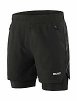 cheap -men's 2 in 1 active running shorts with 2 zipper pockets b191 black size medium