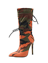 cheap -Women's Boots Stiletto Heel Pointed Toe Mid Calf Boots Sexy Daily Party & Evening Walking Shoes PU Lace-up Check Camouflage Orange / Black Black Gray / Mid-Calf Boots