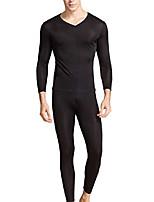 cheap -men's silk long johns|v-neck mens silk long underwear | mulberry silk thermal underwear sets& base laye(s, black)
