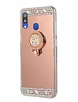 cheap -for samsung galaxy a20/a30 case mirror rose gold with ring kickstand glitter sparkle rhinestone diamond flower makeup cover with finger holder grip for samsung galaxy a20/a30
