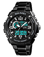 cheap -men digital quartz watches 3 time alarm chronograph waterproof stainless steel straps wristwatches (black)