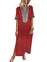 cheap -plus size maxi dress for women, ladies summer vintage dress v neck split long dress floral print boho beach dress causal loose kaftan dress elegant shirt dress holiday party sale red