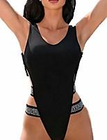 cheap -elogoog women monokini retro thong one piece swimsuit high cut sexy trikini backless(black, m)