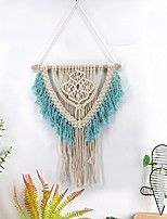 cheap -Hand Woven Macrame Wall Tapestry Bohemian Boho Art Decor Blanket Curtain Hanging Home Bedroom Living Room Decoration Nordic Handmade Tassel Cotton Lake Blue