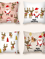 cheap -Cushion Cover 4PCS Christamas Party Decoration Christamas Gift  Short Plush Soft Decorative Square Throw Pillow Cover Cushion Case Pillowcase for Sofa Bedroom 45 x 45 cm (18 x 18 Inch) Superior