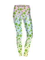 cheap -Women's Sporty Comfort Gym Yoga Leggings Pants Patterned Full Length Light Green