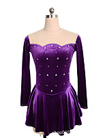 cheap -Figure Skating Dress Women's Girls' Ice Skating Dress Purple Dark Green Spandex High Elasticity Training Competition Skating Wear Crystal / Rhinestone Long Sleeve Ice Skating Figure Skating / Kids