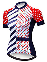 cheap -21Grams Women's Short Sleeve Cycling Jersey Black / Red Bike Jersey Top Mountain Bike MTB Road Bike Cycling UV Resistant Breathable Quick Dry Sports Clothing Apparel / Stretchy / Reflective Strips