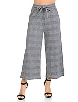 cheap -women's high waisted wide leg culottes cropped palazzo pants b&w houndstooth l/xl