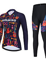 cheap -Women's Long Sleeve Cycling Jersey with Bib Tights Cycling Jersey with Tights Cycling Jersey Winter Black Red Black / White Floral Botanical Bike Breathable Quick Dry Sports Graphic Mountain Bike MTB