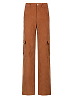 cheap -Women's Basic Streetwear Comfort Daily Going out Pants Chinos Pants Solid Colored Full Length Pocket Blushing Pink Green Brown