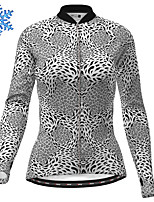 cheap -21Grams Women's Long Sleeve Cycling Jersey Winter Fleece Polyester Grey Leopard Bike Jersey Top Mountain Bike MTB Road Bike Cycling Fleece Lining Warm Quick Dry Sports Clothing Apparel / Stretchy