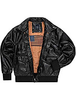 cheap -men's faux leather flight bomber jacket, air force a-2 classical jacket (black, small)
