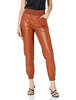 cheap -women's vegan leather jogger, nutmeg, xx-small