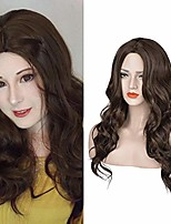 cheap -wigs long curly wavy wig with middle part brown color 24 inches heat resistant synthetic wigs daily party wig for women