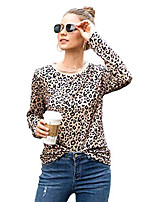 cheap -women's casual tops leopard print shirts basic long sleeve crew neck soft stretchy blouse twq218 light coffee leopard-m