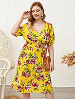 cheap -Women's Shift Dress Knee Length Dress - Short Sleeve Print Patchwork Print Summer V Neck Plus Size Casual Sexy Holiday Loose 2020 Yellow XL XXL 3XL 4XL