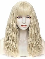 cheap -women's light blonde wavy wigs with bangs middle length premium heat resistant synthetic cosplay wig for girl daily use or costume