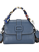 cheap -Women's Bags PU Leather Leather Top Handle Bag Buttons Daily Outdoor Handbags Baguette Bag Black Blue Red Khaki