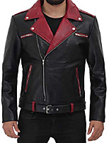 cheap -motorcycle jacket men - black real mens leather jackets for biker | [1107873] jimmy, m