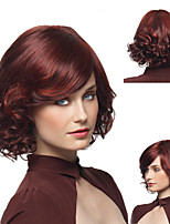 cheap -Ladies Oblique Bangs Wigs Wine Red Partial Short Curly Wigs Fluffy Pear Curly Hair Medium And Long Hair Headgear