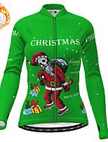 cheap -21Grams Women's Long Sleeve Cycling Jersey Winter Fleece Polyester Red Blue Orange Skull Christmas Santa Claus Bike Jersey Top Mountain Bike MTB Road Bike Cycling Fleece Lining Warm Quick Dry Sports