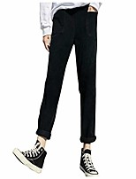 cheap -women's casual corduroy pants comfy pull on elastic waist trousers drawstring cotton pants harem pants black