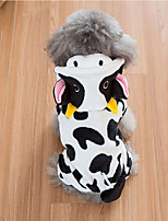 cheap -Dog Coat Hoodie Animal Cow Animals Casual / Daily Winter Dog Clothes Puppy Clothes Dog Outfits Breathable Black / White Costume for Girl and Boy Dog Coral Fleece XS S M L XL XXL