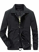 cheap -mens snap front polyester jacket lightweight coach windbreaker outwear black xl