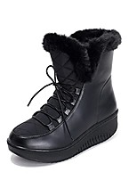 cheap -women shoes boots solid slip-on soft snow boots round toe flat winter fur ankle boots black 4